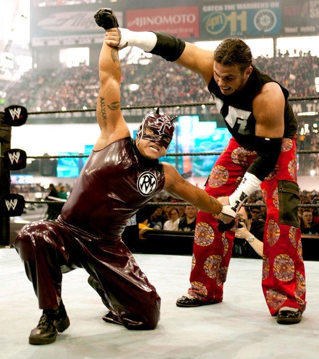 Rey Mysterio rocked a Daredevil look at WrestleMania XIX.
