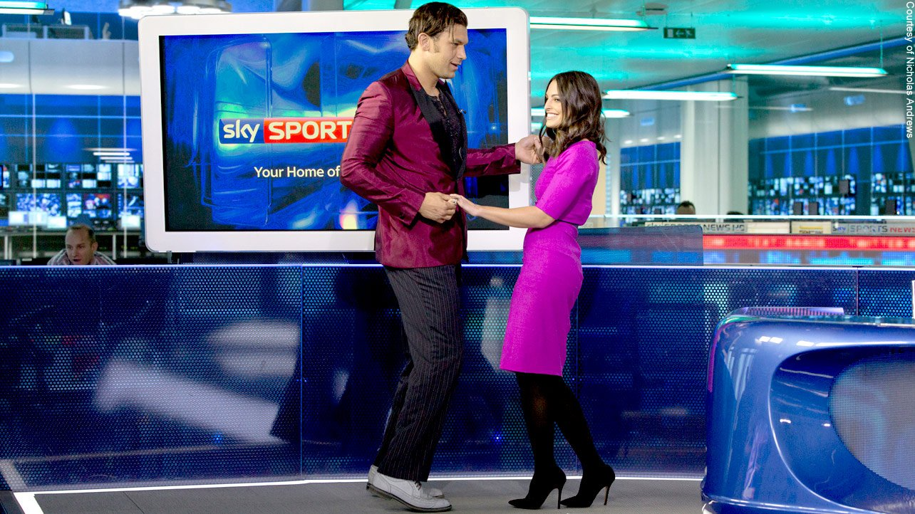 The dancing Superstar shows off some of his best moves with a lucky Sky Sports anchor.