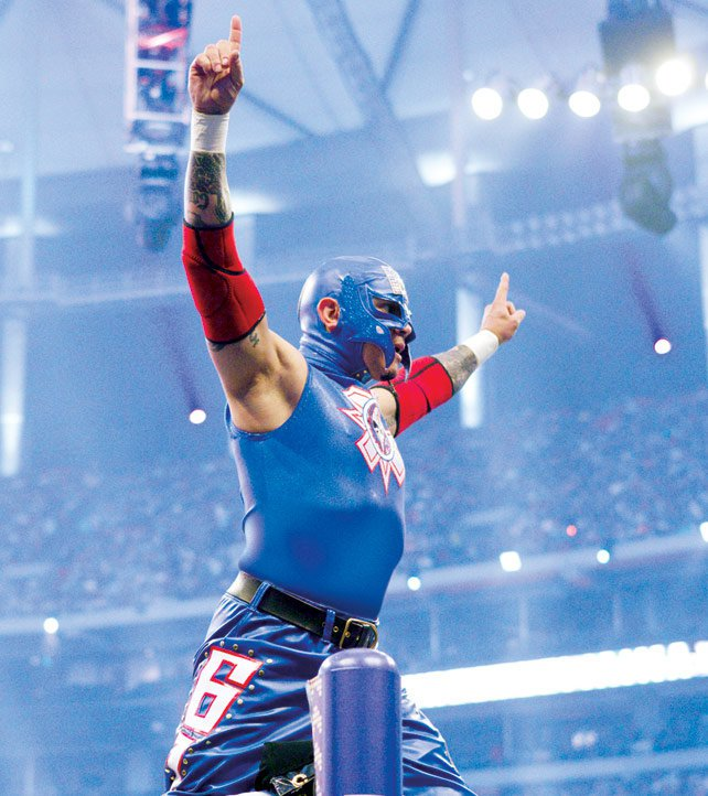 Rey channeled a certain patriotic caped crusader at WrestleMania XXVII.