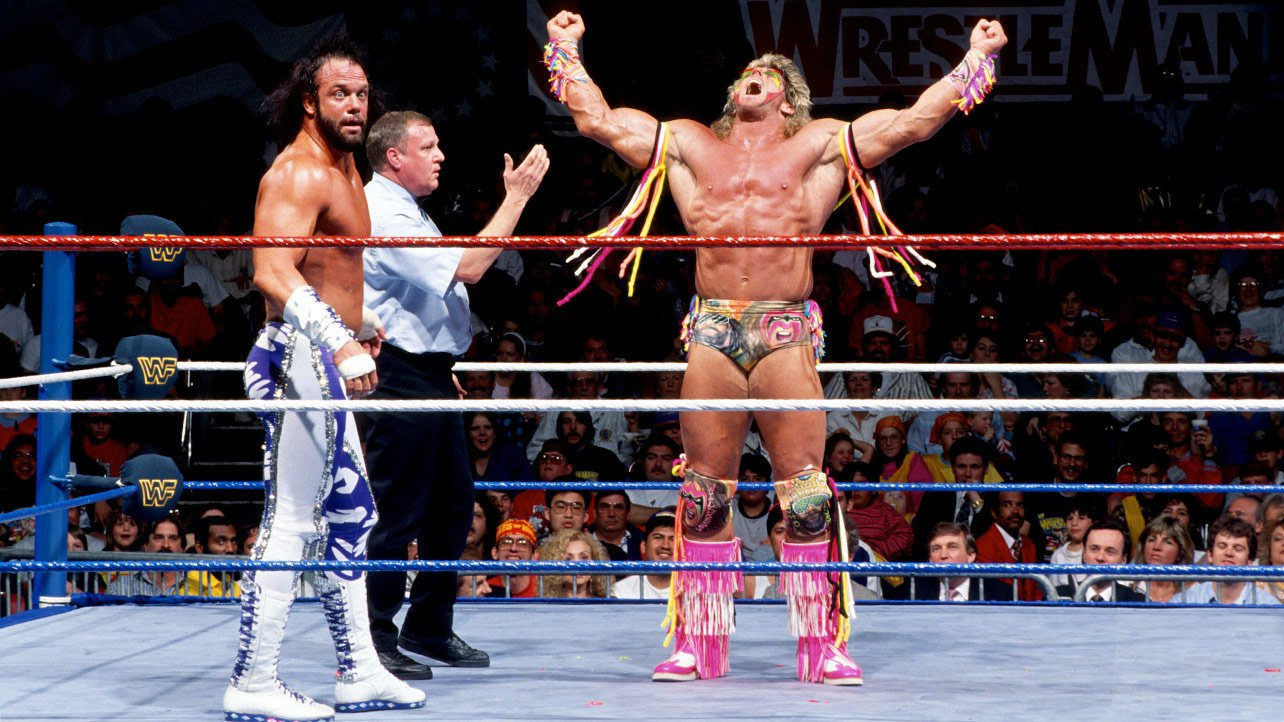 Both Superstars' countenances were painted on Ultimate Warrior's knee pads.