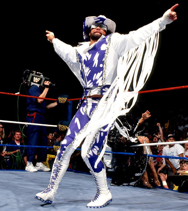 """With his career believed to be on the line, """"Macho Man"""" upped the wardrobe ante again at WrestleMania VII."""