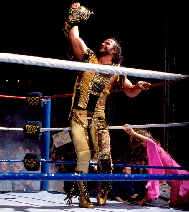 At WrestleMania VIII, Savage dethroned Ric Flair to win the WWE Championship. His gold ring gear was a fitting touch.