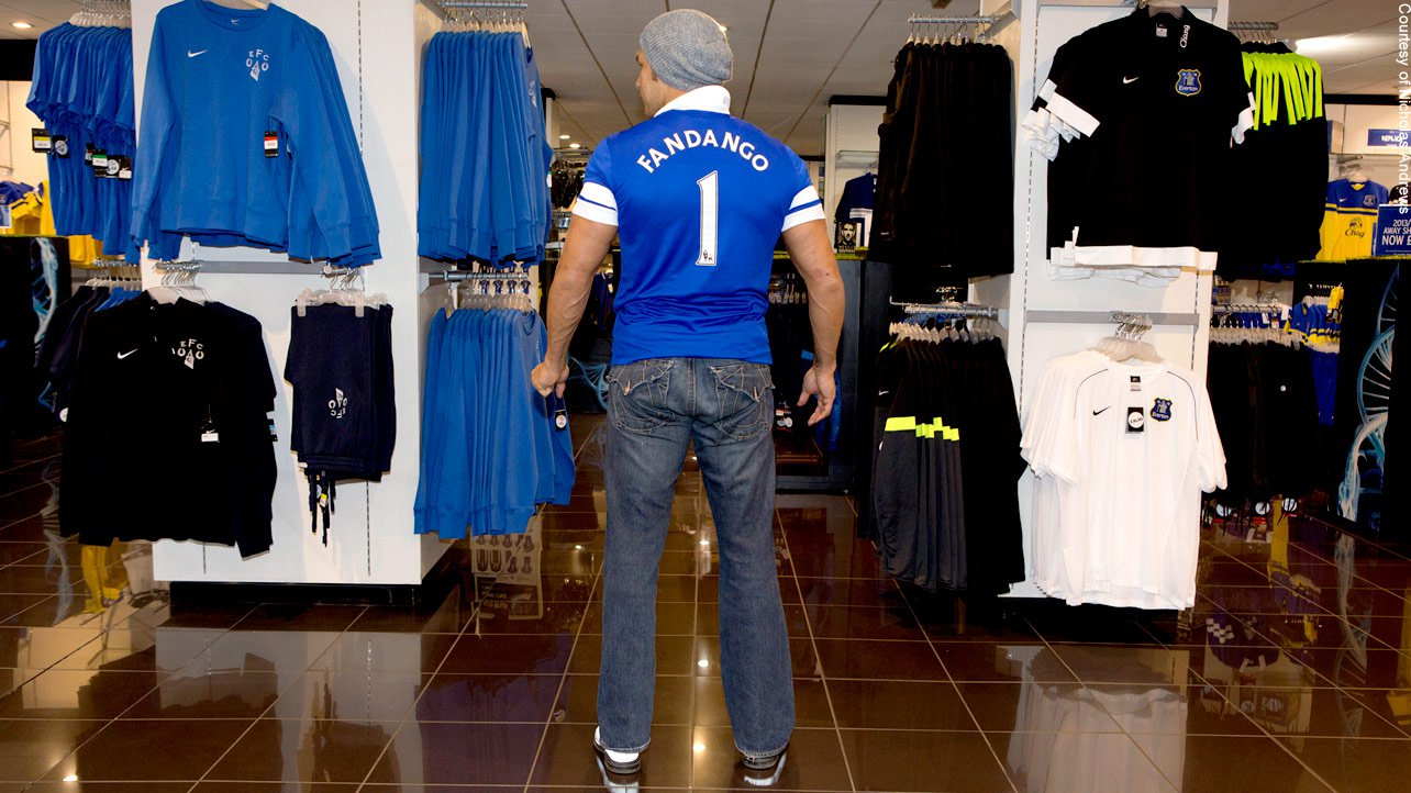 It looks like the Premier League has a new star. Fandango suits up for Everton Football Club!
