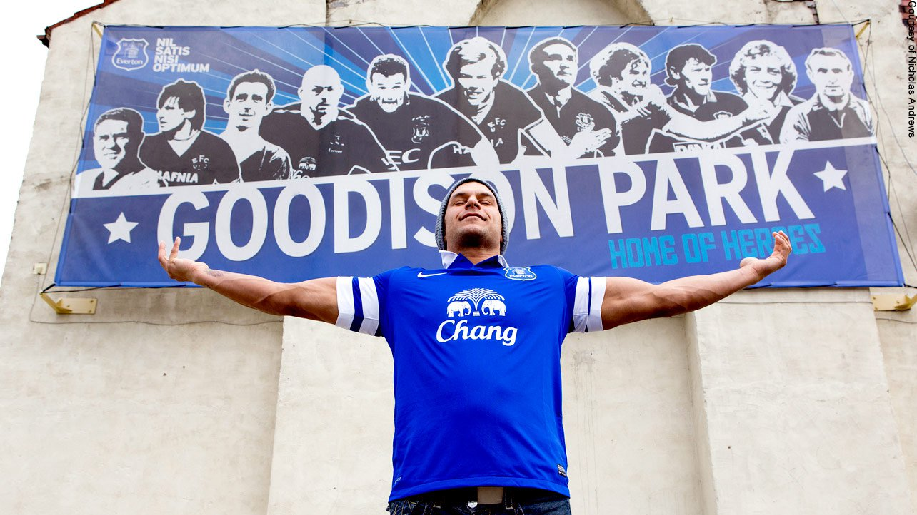 The fleet-footed fighter tours Goodison Park in Liverpool, home of Everton F.C.