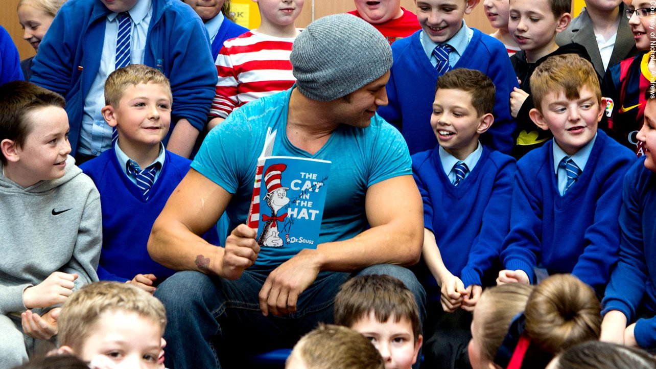 """Fandango reads """"The Cat in the Hat"""" with the class, as he winds down his fun-filled, whirlwind visit to the U.K. Visit http://www.wwe.com/events to get tickets to WWE's upcoming European tour!"""