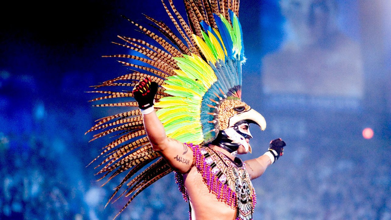 """""""The King of Mystery"""" wore an Aztec headdress when he arrived for his World Heavyweight Championship Match against Randy Orton and Kurt Angle at WrestleMania 22."""