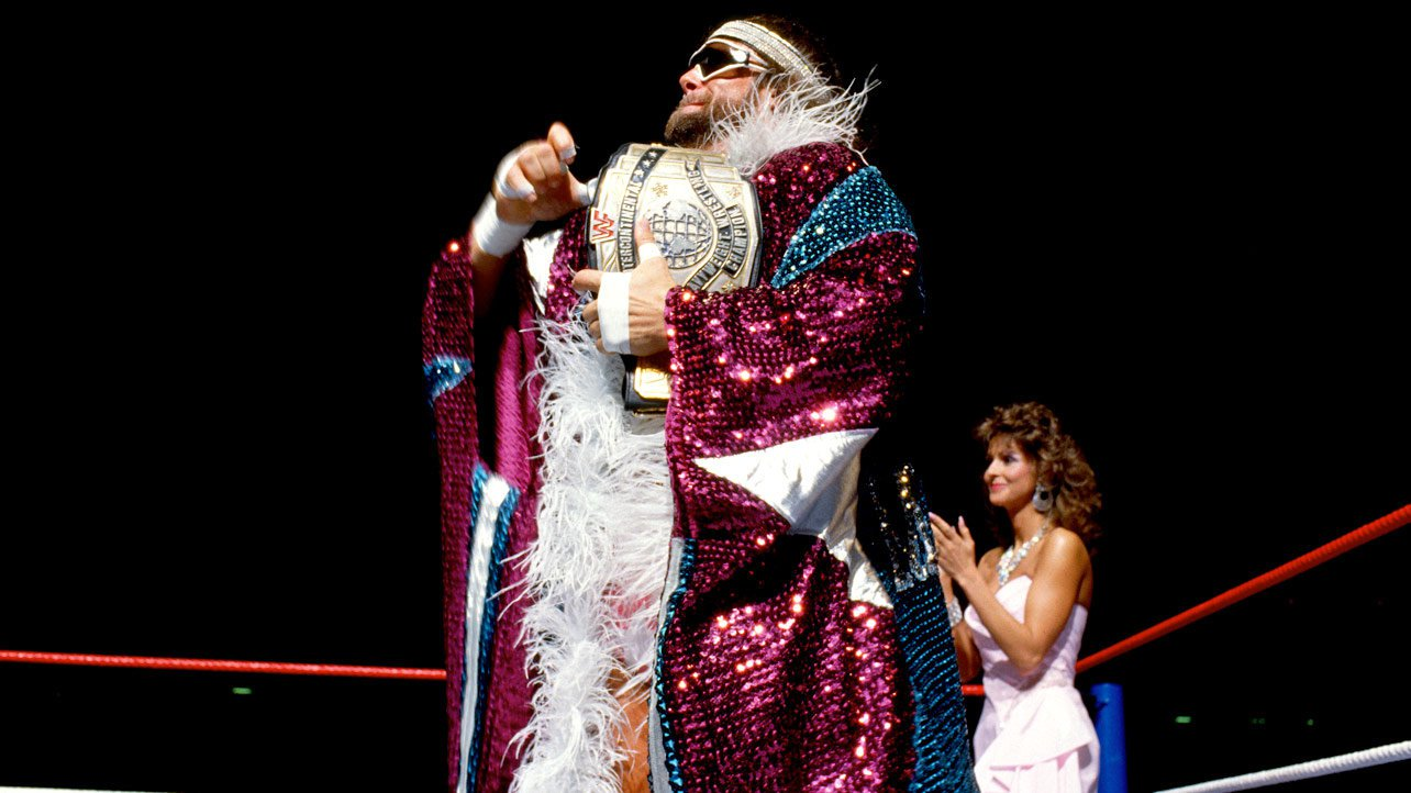 """""""Macho Man"""" Randy Savage dressed to the nines for his Intercontinental Title Match against Ricky Steamboat at WrestleMania III."""