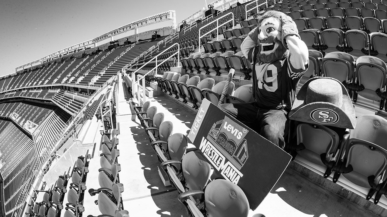 Thursday, March 26 – 2:19 p.m.: San Franciso 49ers mascot Sourdough Sam is stunned to realize he has arrived for WrestleMania at Levi's® Stadium a few days early.