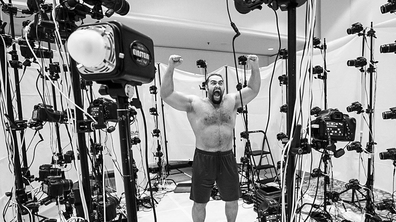 Saturday, March 28 – 9:59 a.m.: Rusev is scanned by 96 cameras simultaneously for 2K Sports in Santa Clara. The images create the hyper realistic images for the newest video games.