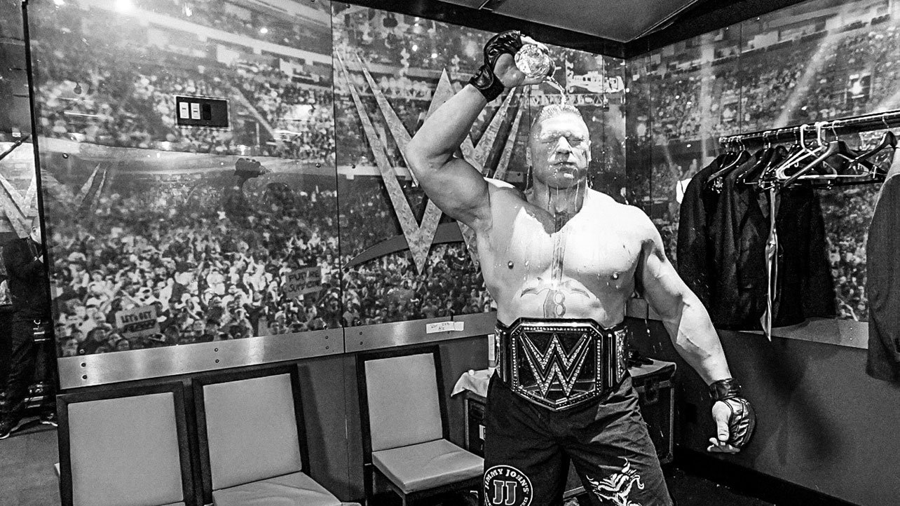 Sunday, March 29 – 7:29 p.m.: WWE World Heavyweight Champion Brock Lesnar gets ready to conquer at WrestleMania.