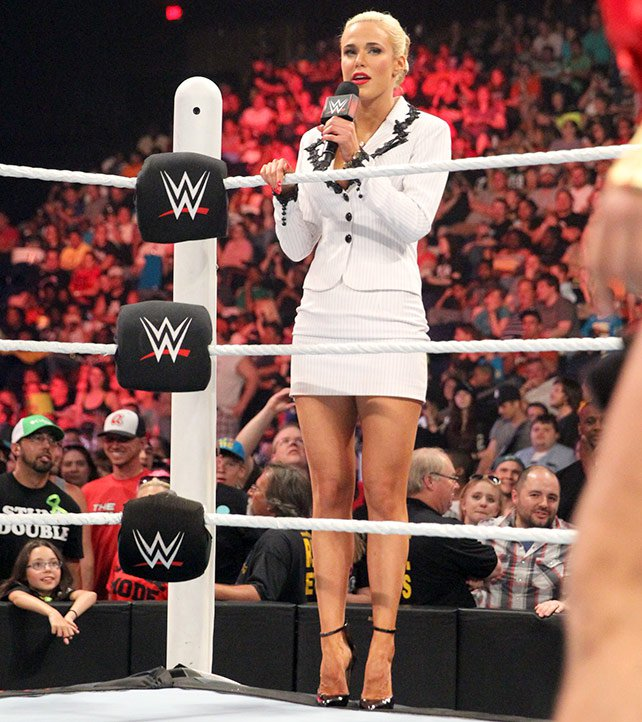 Although Rusev demanded she stay in the back, Lana comes to the ring to plead with him.