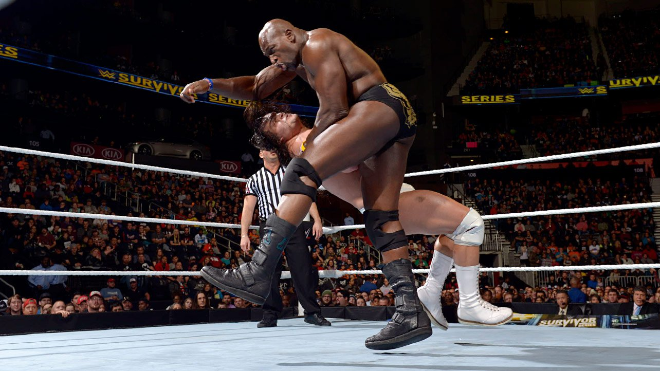 Titus O'Neil levels Bo Dallas with a powerful clothesline.