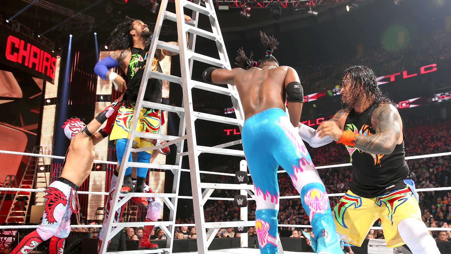All of the Superstars in this bout frantically scramble to scale the ladder in the early goings.