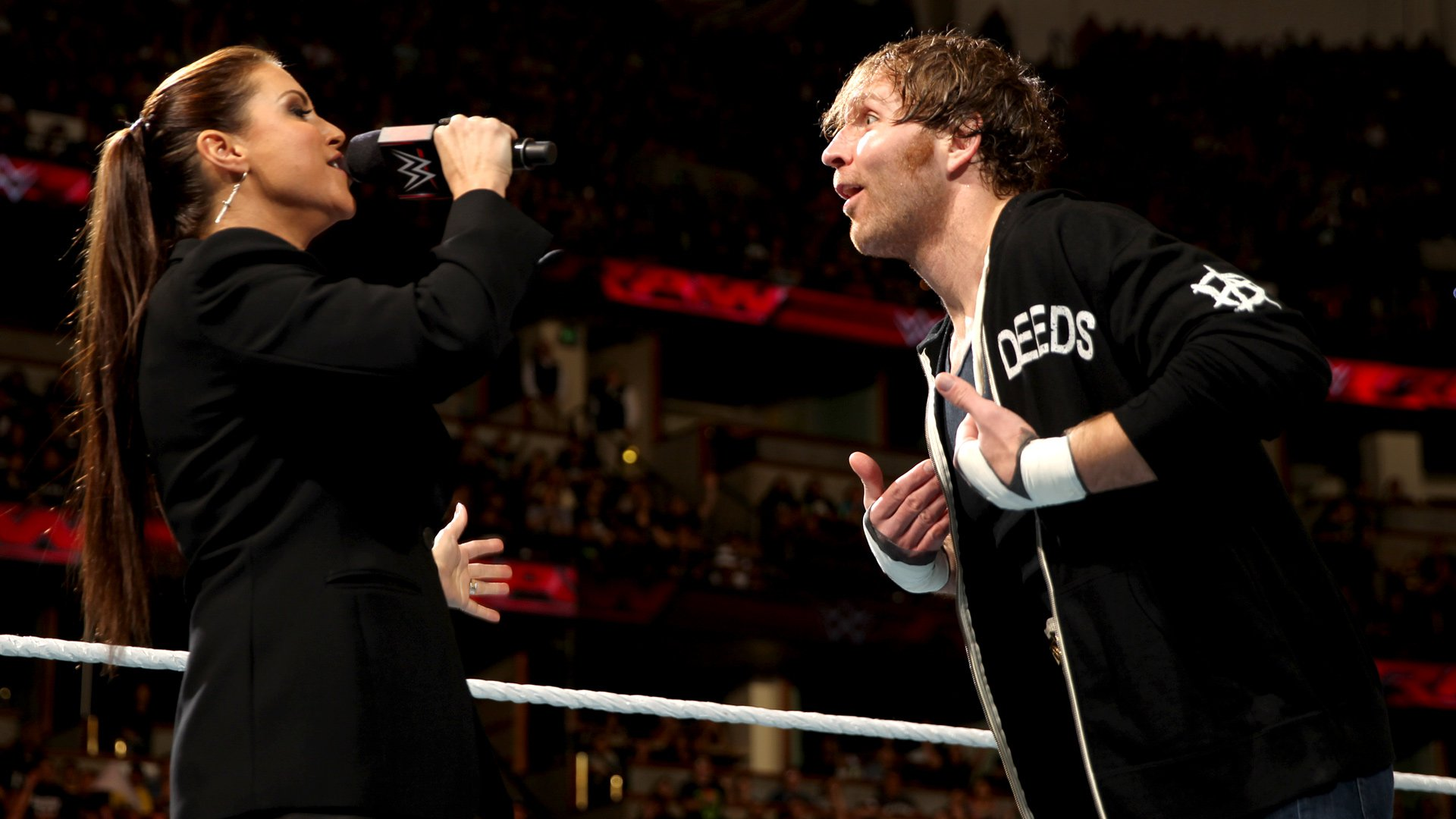 Stephanie McMahon arrives and grants Ambrose his wish in the form of a Fatal 5-Way for the Intercontinental Championship.