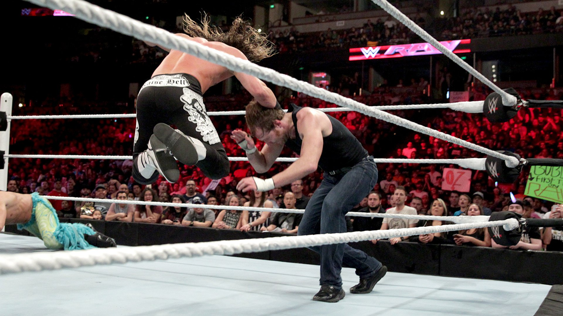 Ziggler takes control after slamming the champion face-first into the mat from the top rope.