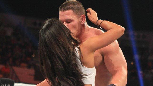 AJ Lee Kiss John Cena