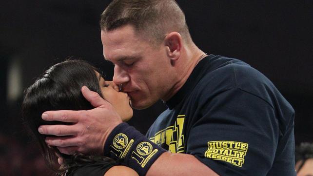 john cena and aj lee kiss to the dismay of vickie guerrero