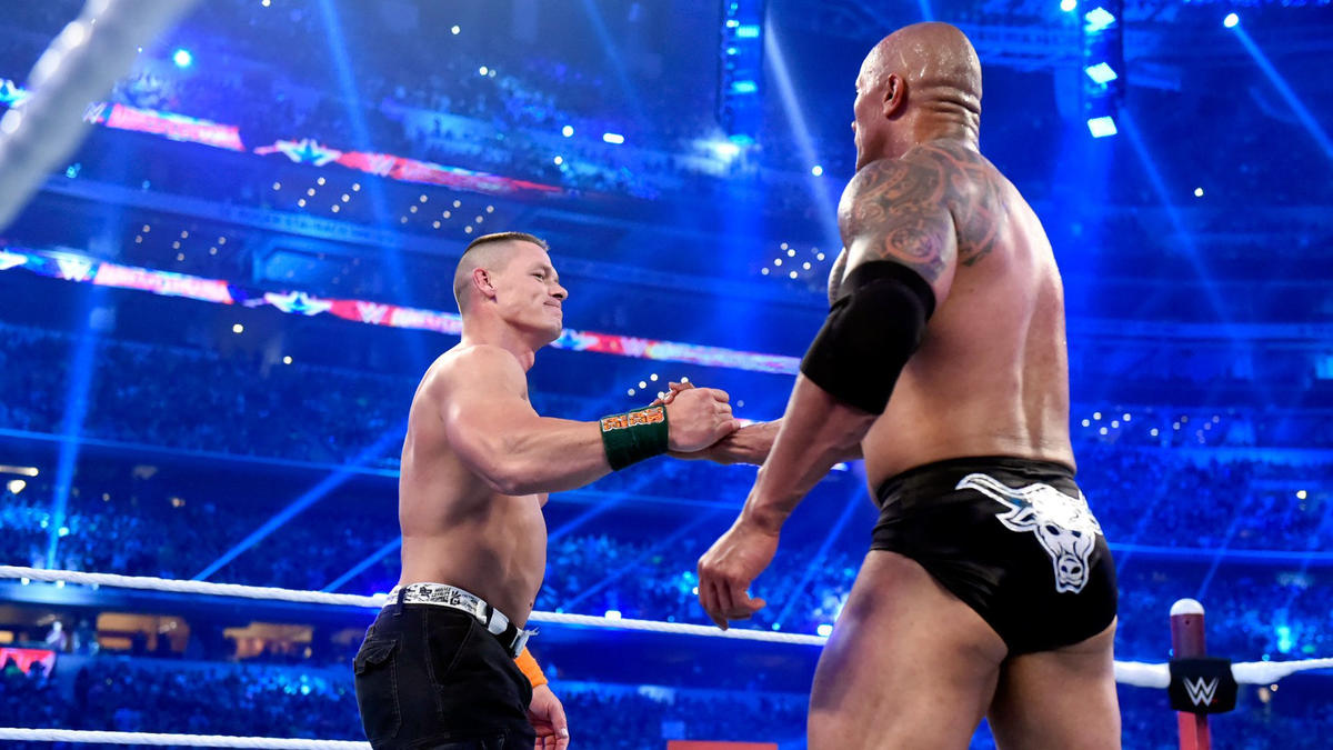 The pair share a friendly moment that was inconceivable during their WrestleMania 28 and 29 rivalries.