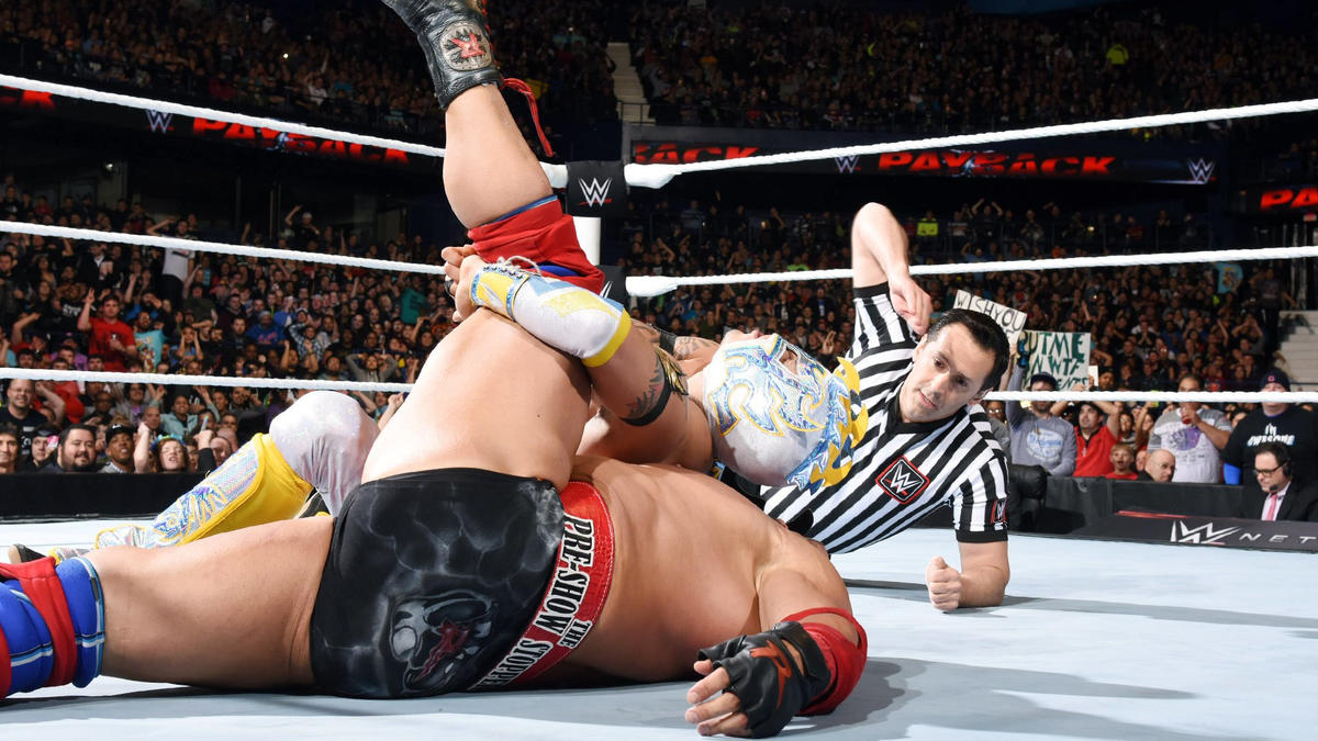 The error in judgment gives Kalisto the opportunity to drop Ryback with Salida del Sol for the victory.