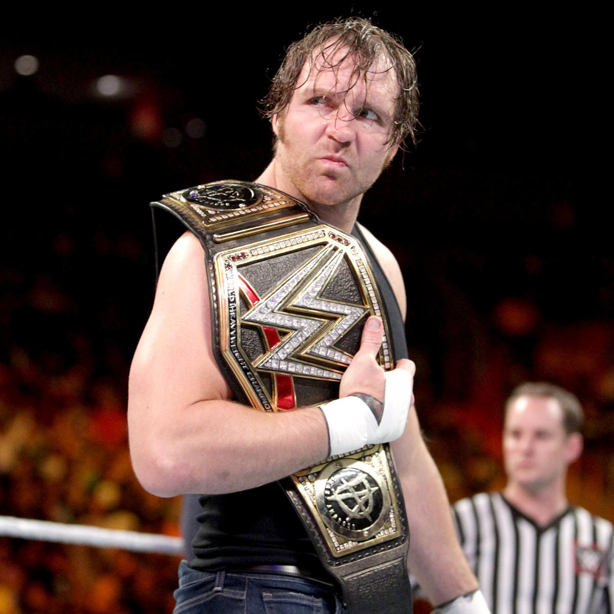 With the WWE Championship on his shoulder, Dean Ambrose is ready for the match ...