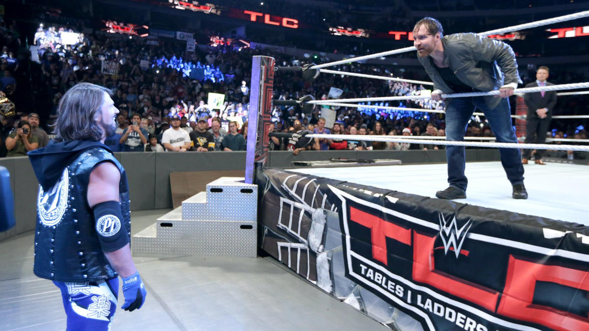 After months of bad blood between the two, WWE World Champion AJ Styles finally faces Dean Ambrose in a Tables, Ladders & Chairs Match.