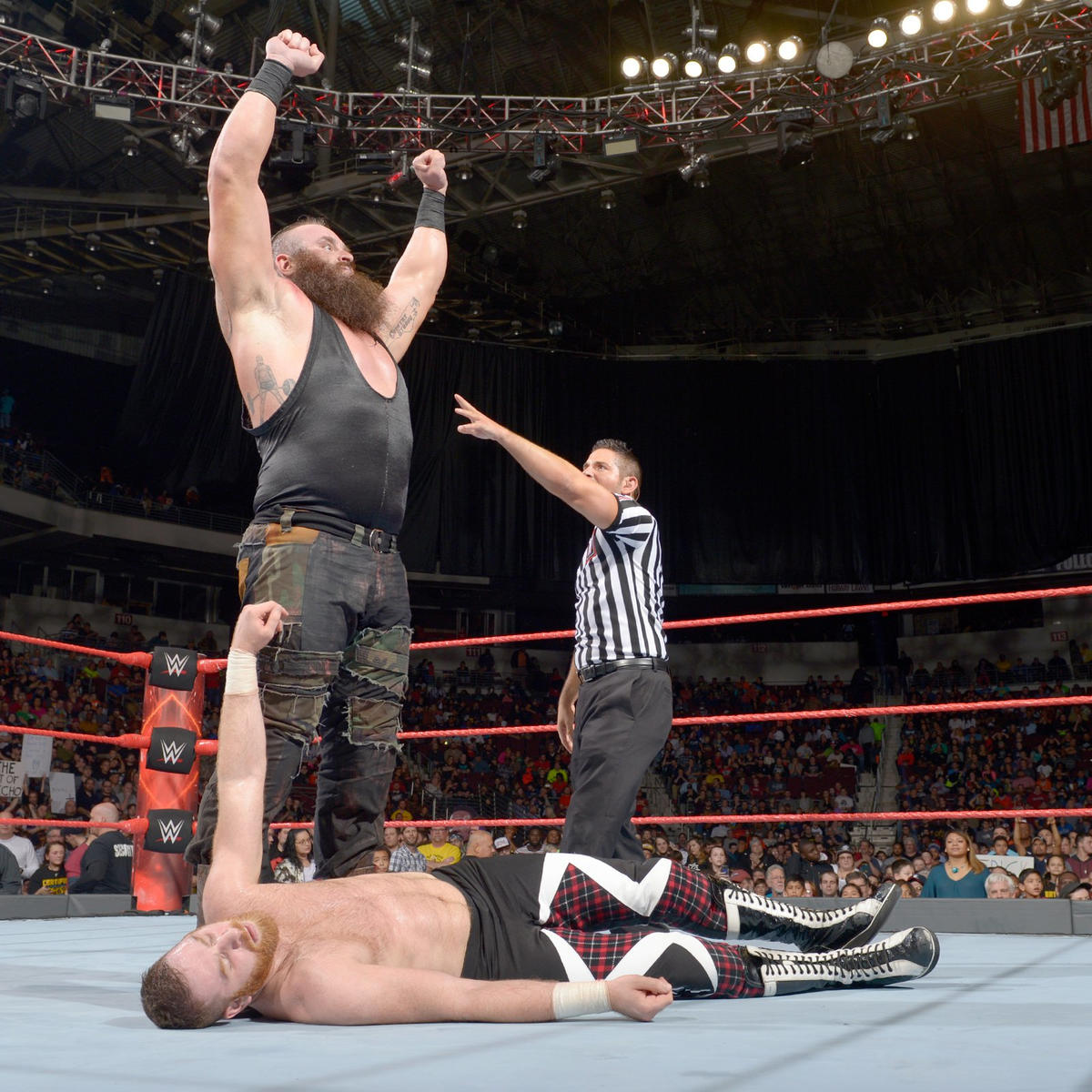 But Strowman scores the win by powerslamming Zayn.