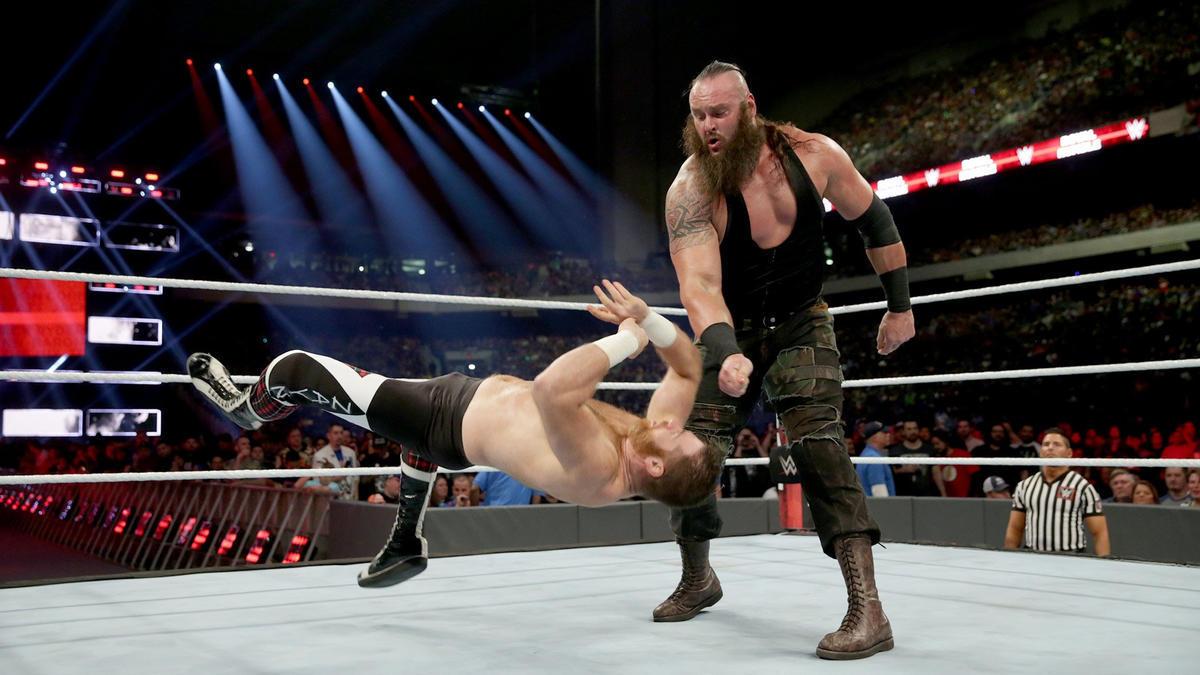 Strowman takes down Sami Zayn (No. 8).