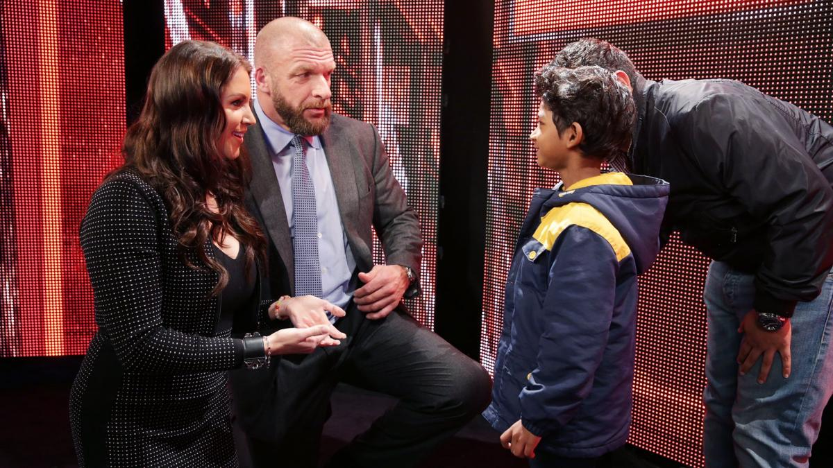 Celebrities meet superstars backstage at raw in los angeles photos stephanie mcmahon and triple h meet sunny pawar the breakout star of the movie m4hsunfo