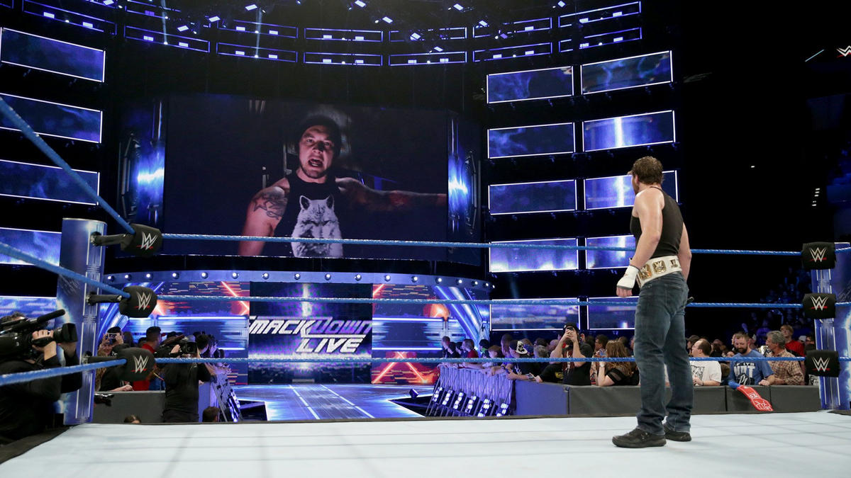 The Lone Wolf taunts the Intercontinental Champion again from the TitanTron.