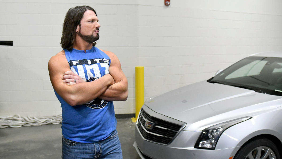An angry AJ Styles waits for SmackDown LIVE Commissioner Shane McMahon.