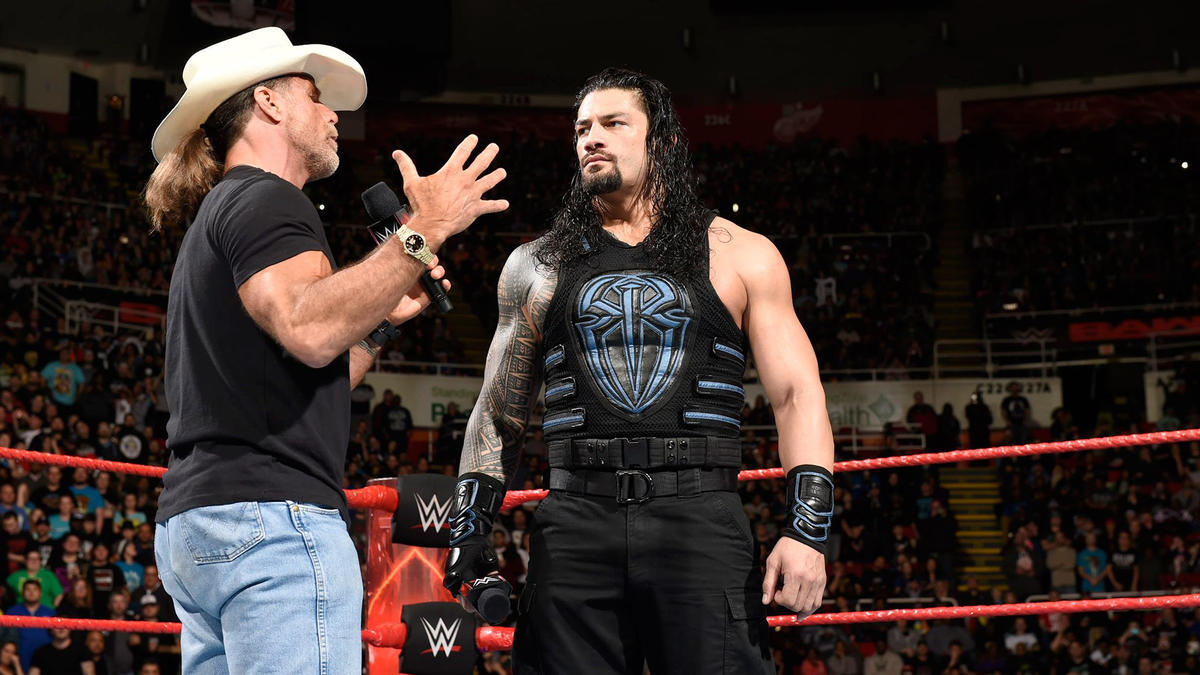 Michaels talks to Reigns about facing The Undertaker at WrestleMania.