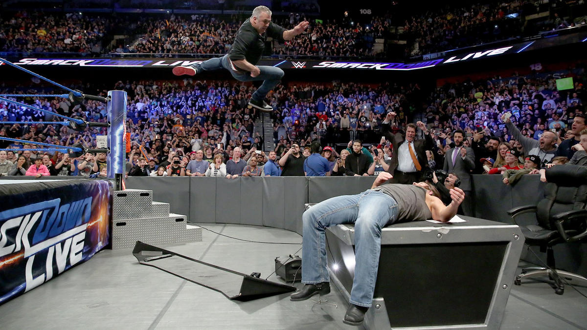 Shane delivers an incredible diving elbow off the top rope onto Styles, making a major statement ahead of The Ultimate Thrill Ride.