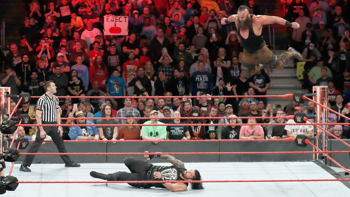 The WWE Universe rises to their feet at Strowman takes to the sky.