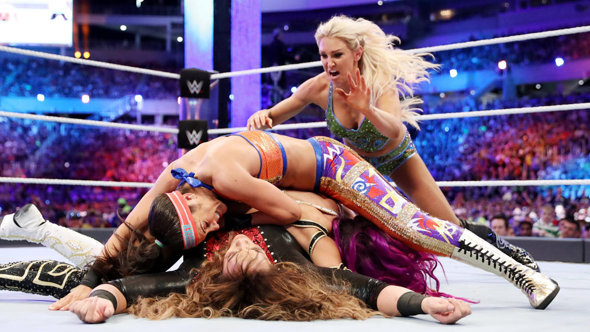 Incredibly, it takes all three Superstars to pin and eliminate Nia Jax.