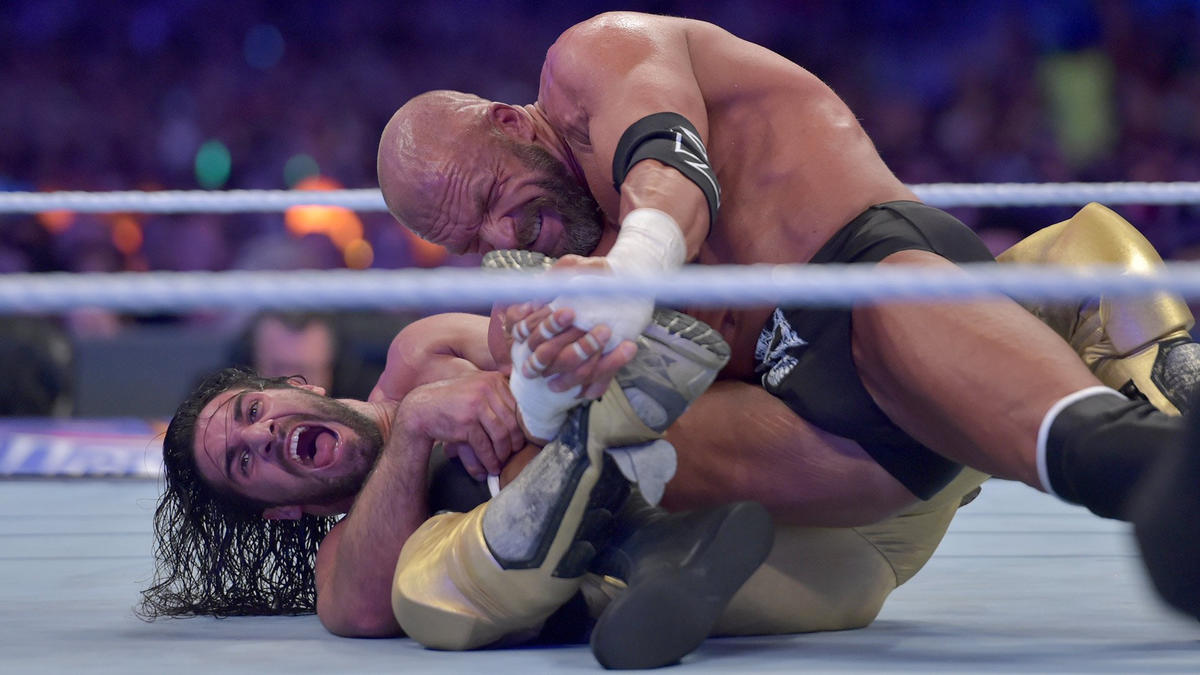 The Cerebral Assassin turns the table by targeting Rollins' vulnerable knee, as expected.