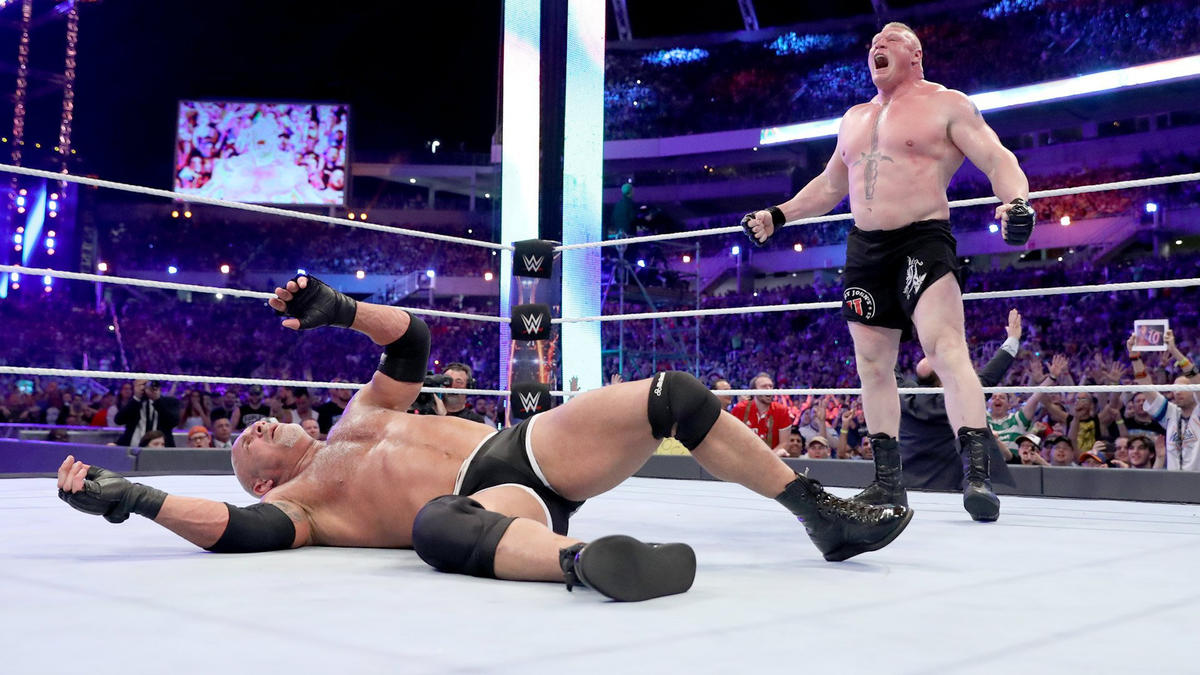 After savaging the champion with a seemingly endless supply of German Suplexes, Lesnar administers the F-5 to defeat Goldberg and claim the Universal Title.