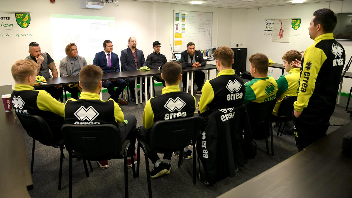 Wwe uk championship live competitors appear at norwich football the superstars of wwe uk championship live meet with representatives from the norwich football club m4hsunfo