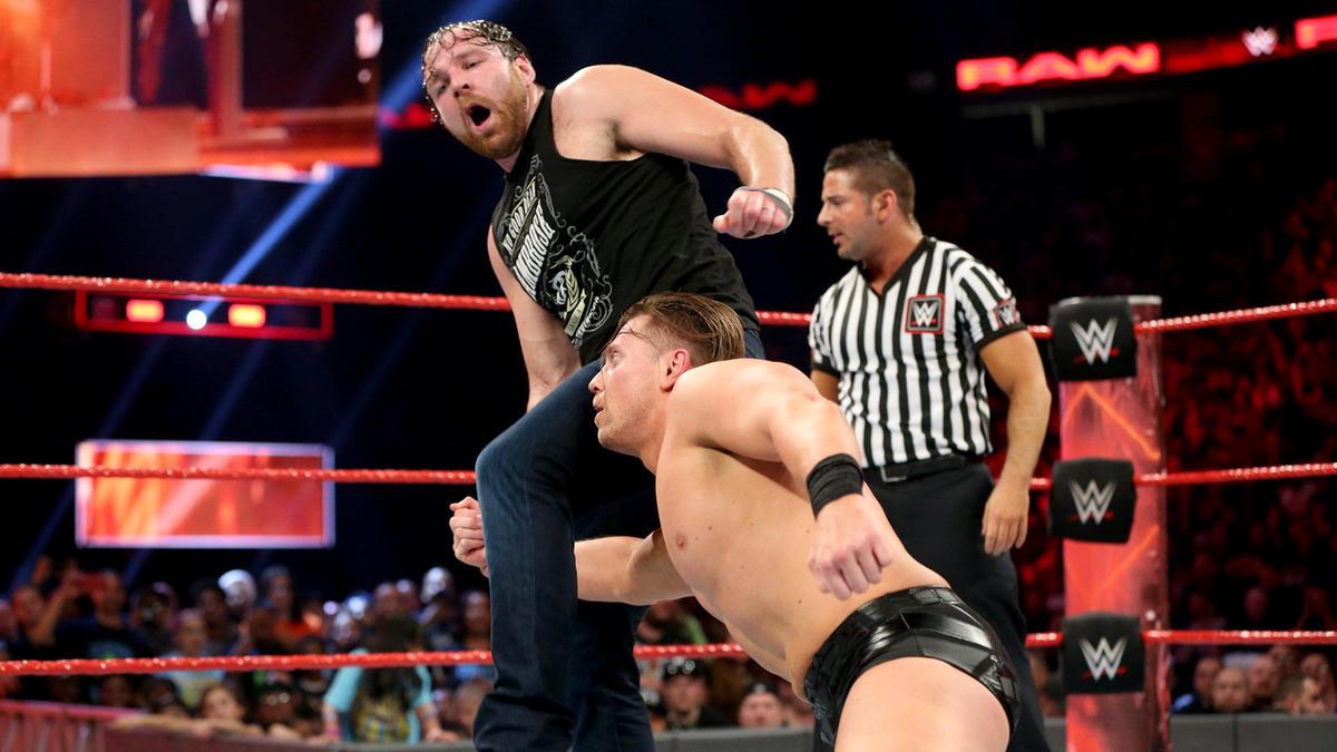 Ambrose blocks Miz's low-blow attempt...
