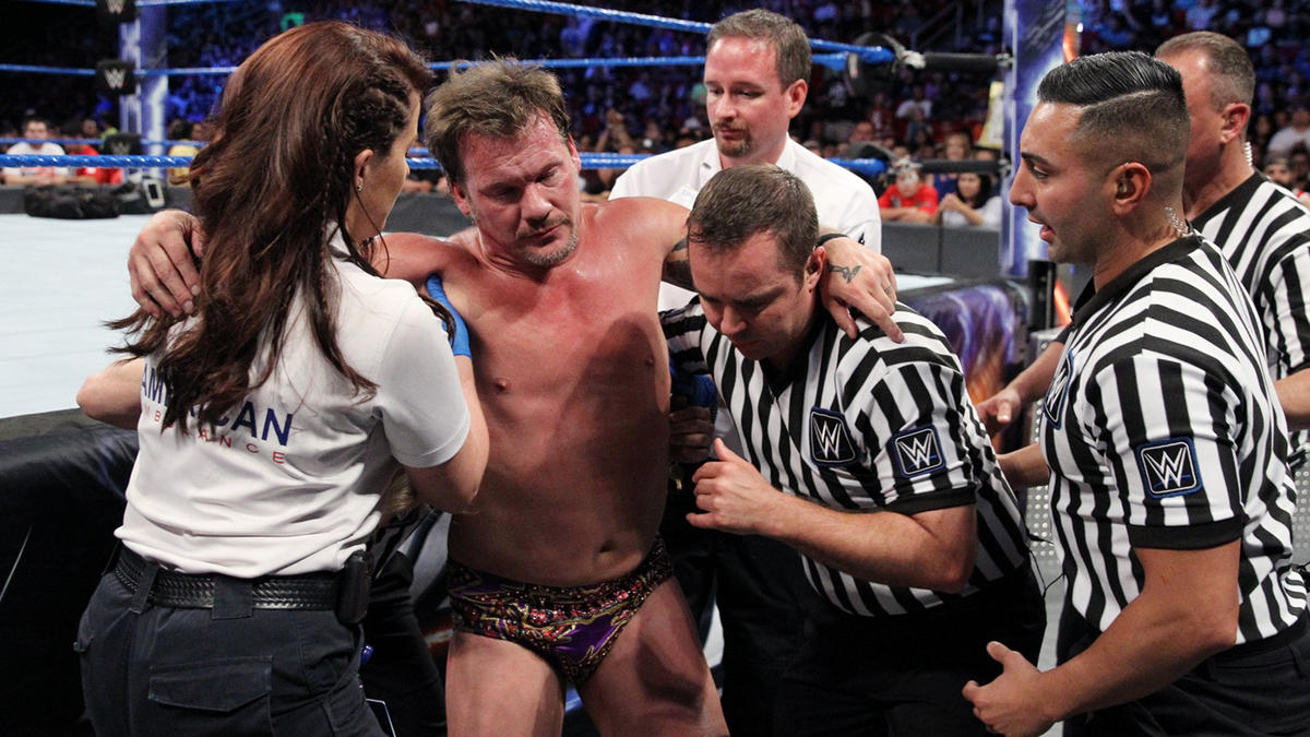 Jericho is helped up...