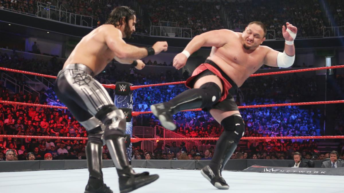With how personal the stakes are, Seth Rollins and Samoa Joe waste no time going after each other.
