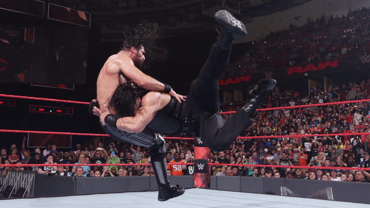 ... but Reigns battles back to take down The Kingslayer with a devastating Spear.