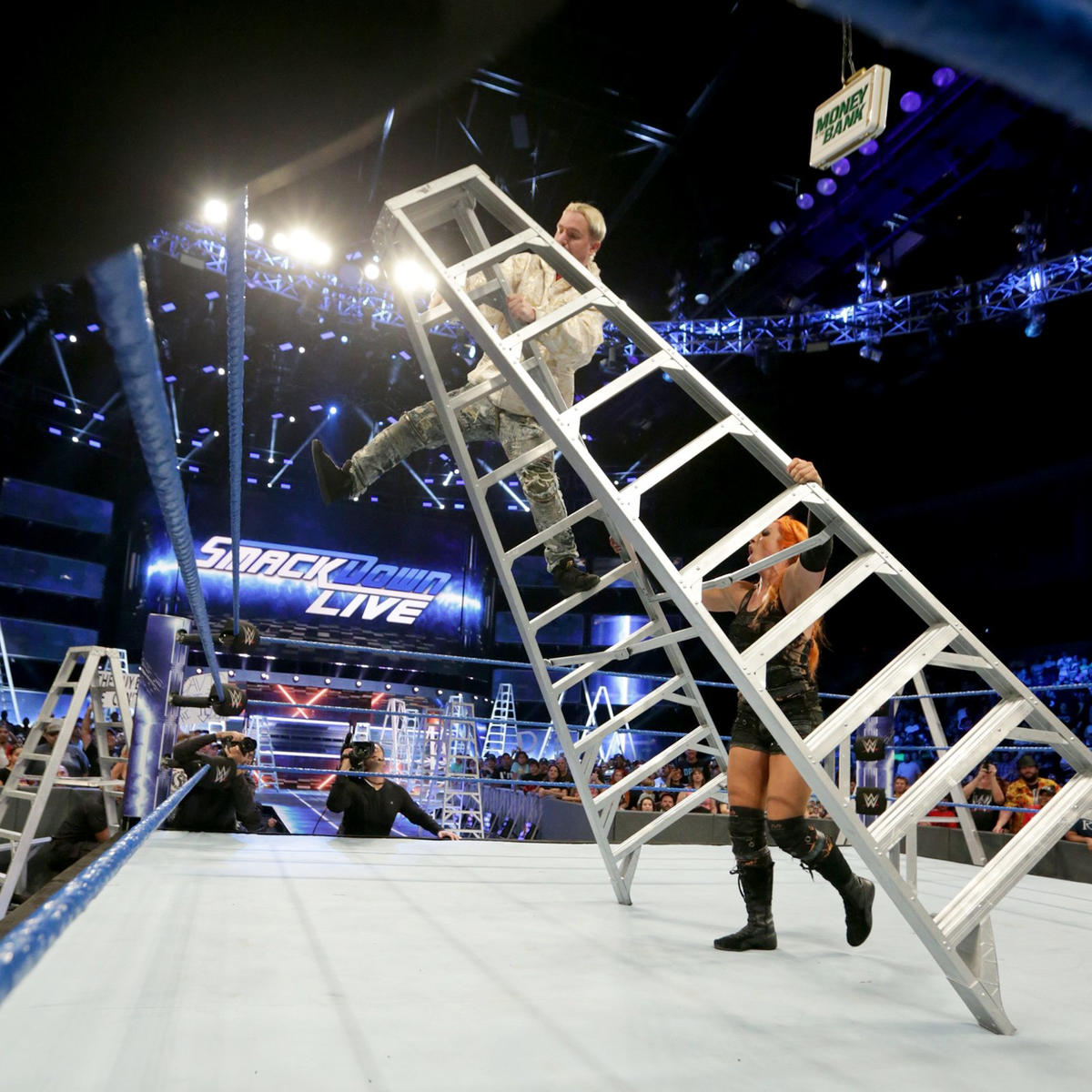 Becky tip the ladder...
