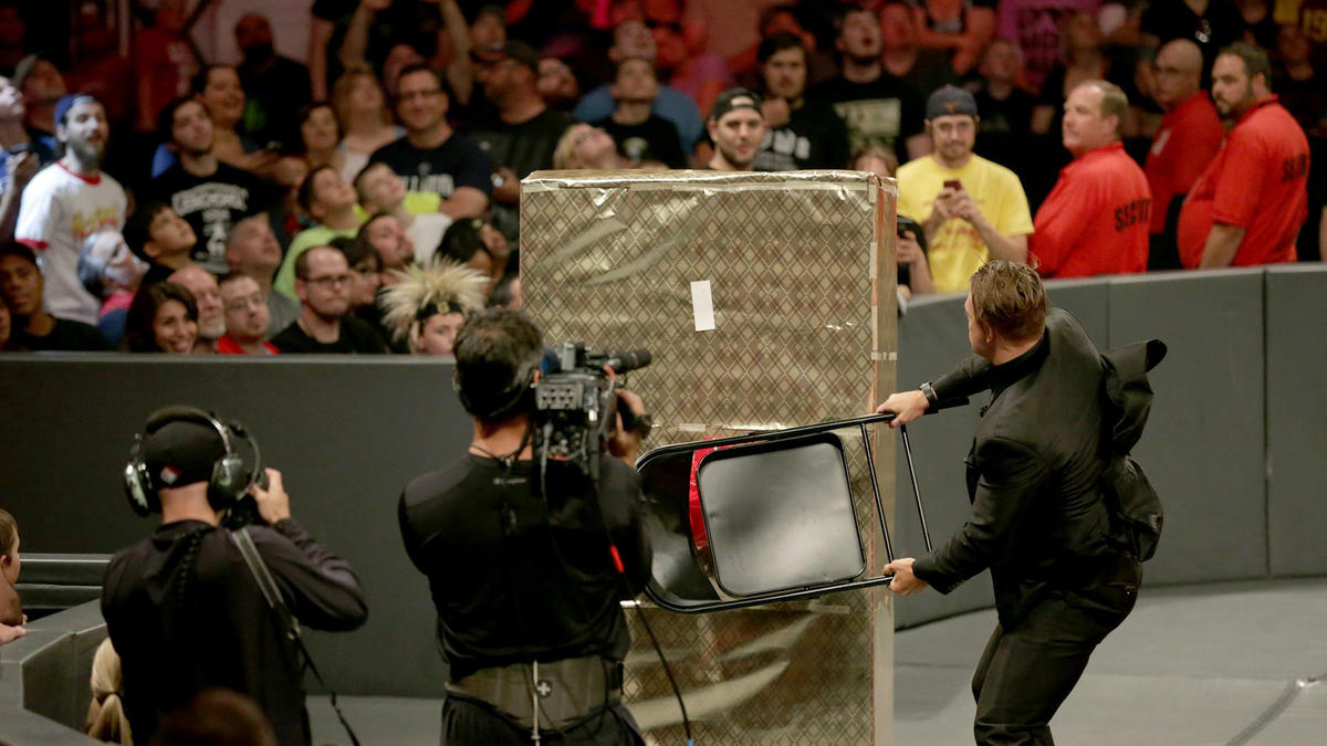 ... and he attacks it with a steel chair.