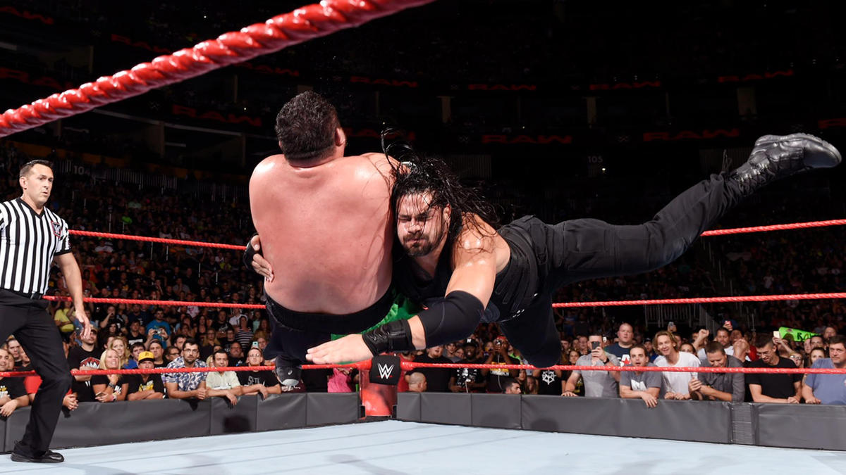 The Big Dog plants Joe with a ring-shaking Spear...