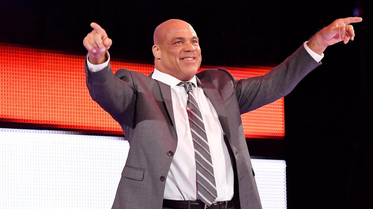 Raw General Manager Kurt Angle makes his way to the squared circle...