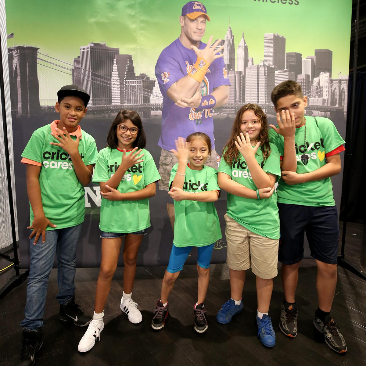John cena sasha banks and the hardys stop by the barclays center kids gather at the barclays center clearly fans of 16 time world champion john kristyandbryce Choice Image
