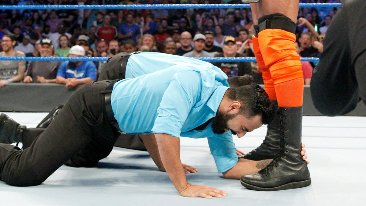 As The Singh Brothers are about to kiss Mahal?s feet, they?re interrupted by Nakamura making his entrance on SmackDown LIVE!
