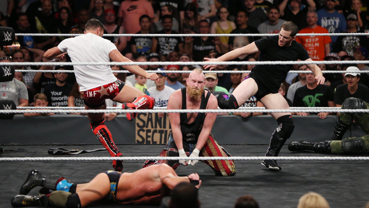 Recent NXT newcomers Bobby Fish and Kyle O?Reilly add to the mayhem by invading the ring to lay a beatdown on the new NXT Tag Team Champions as well as the fallen Authors of Pain.