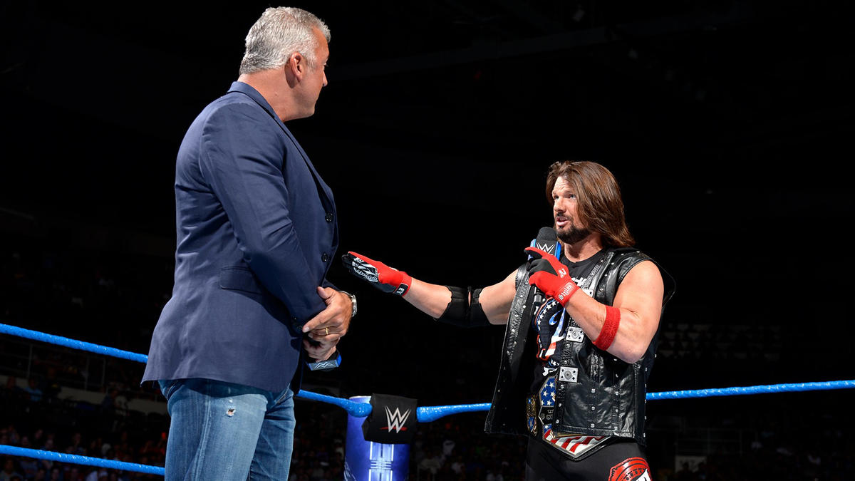 Styles lets Shane McMahon know that it was an accident when he nailed him with a Pele Kick last week.