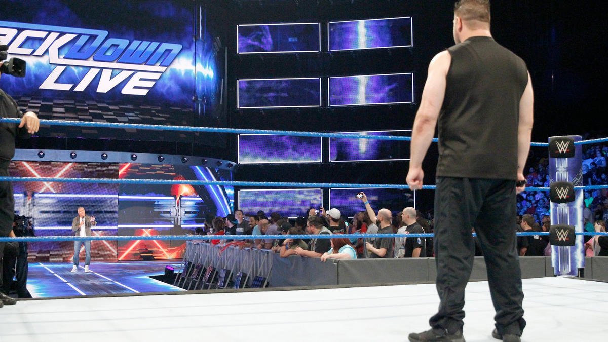 SmackDown LIVE General Manager Shane McMahon reminds Owens that he chose Baron Corbin to be the referee in the United States Open Challenge Match last week, and because Corbin left he had to stand in as referee.